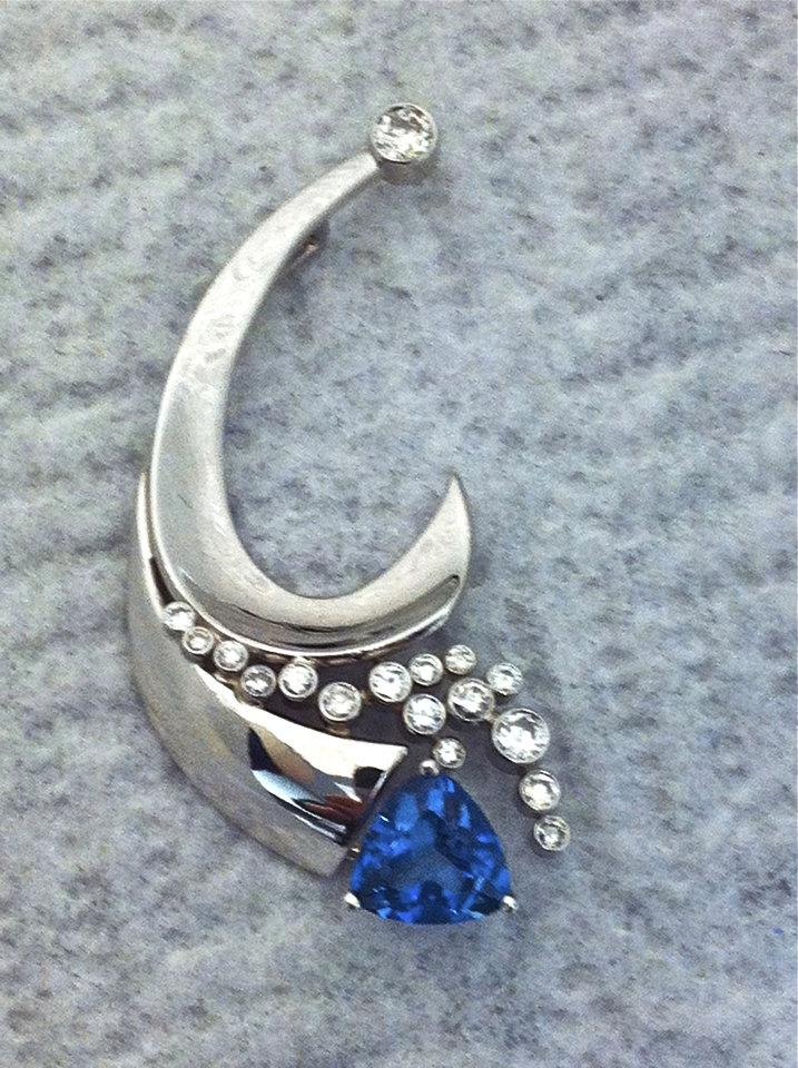 Craft-Revival Jewelers, unique pendant, unqiue necklace, diamond necklace, sapphire pendant
