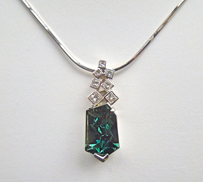 Craft-Revival Jewelers, unique pendant, unqiue necklace, tourmaline pendant, munsteiner pendant, princess cut diamond