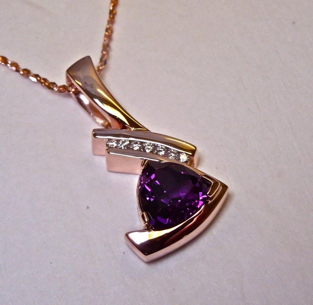 Craft-Revival Jewelers, unique pendant, unqiue necklace, rose gold pendant, amethyst pendant
