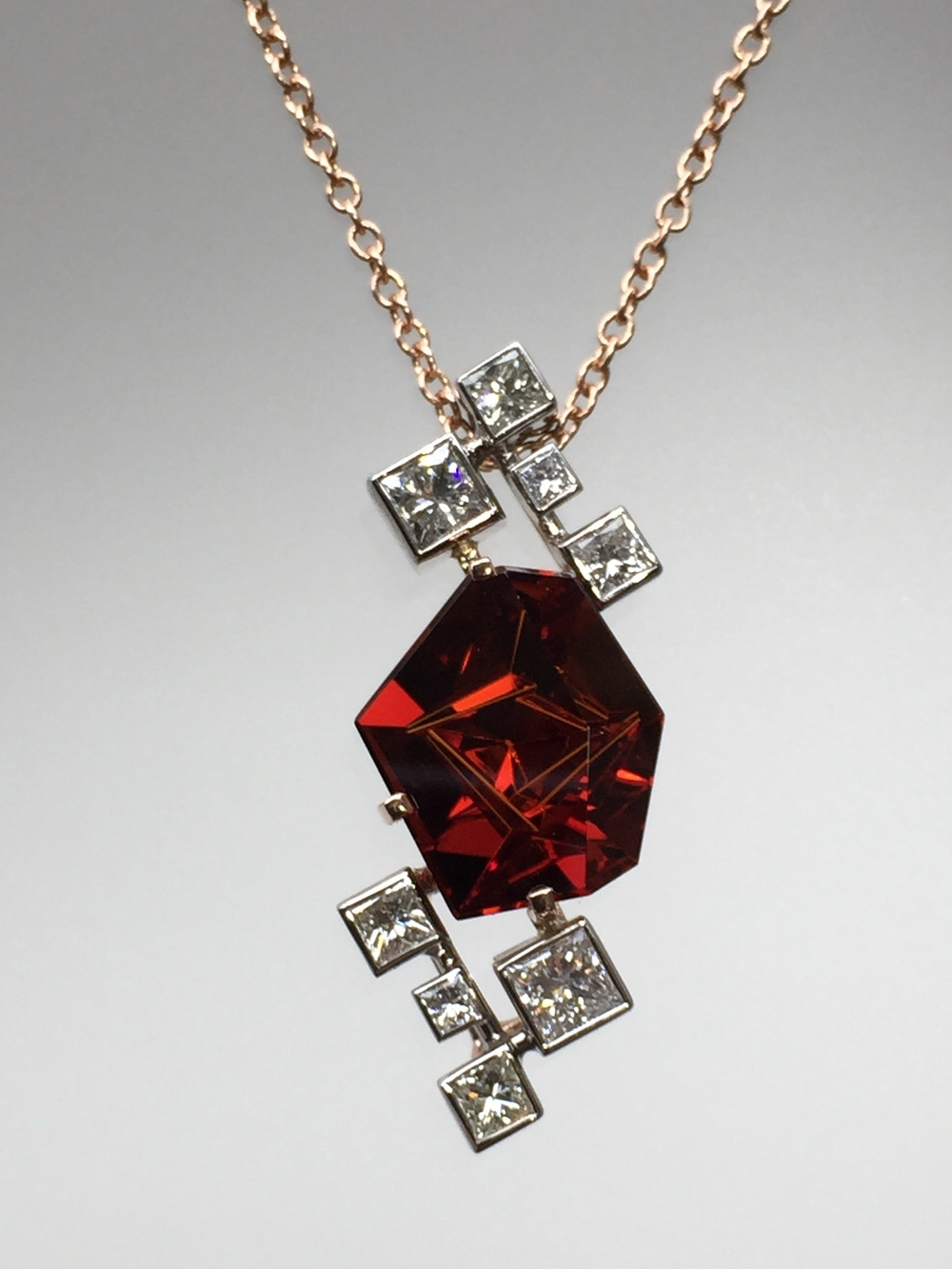 Craft-Revival Jewelers, unique pendant, unqiue necklace, garnet pendant, bezel set diamonds, rose gold necklace, munstiener garnet