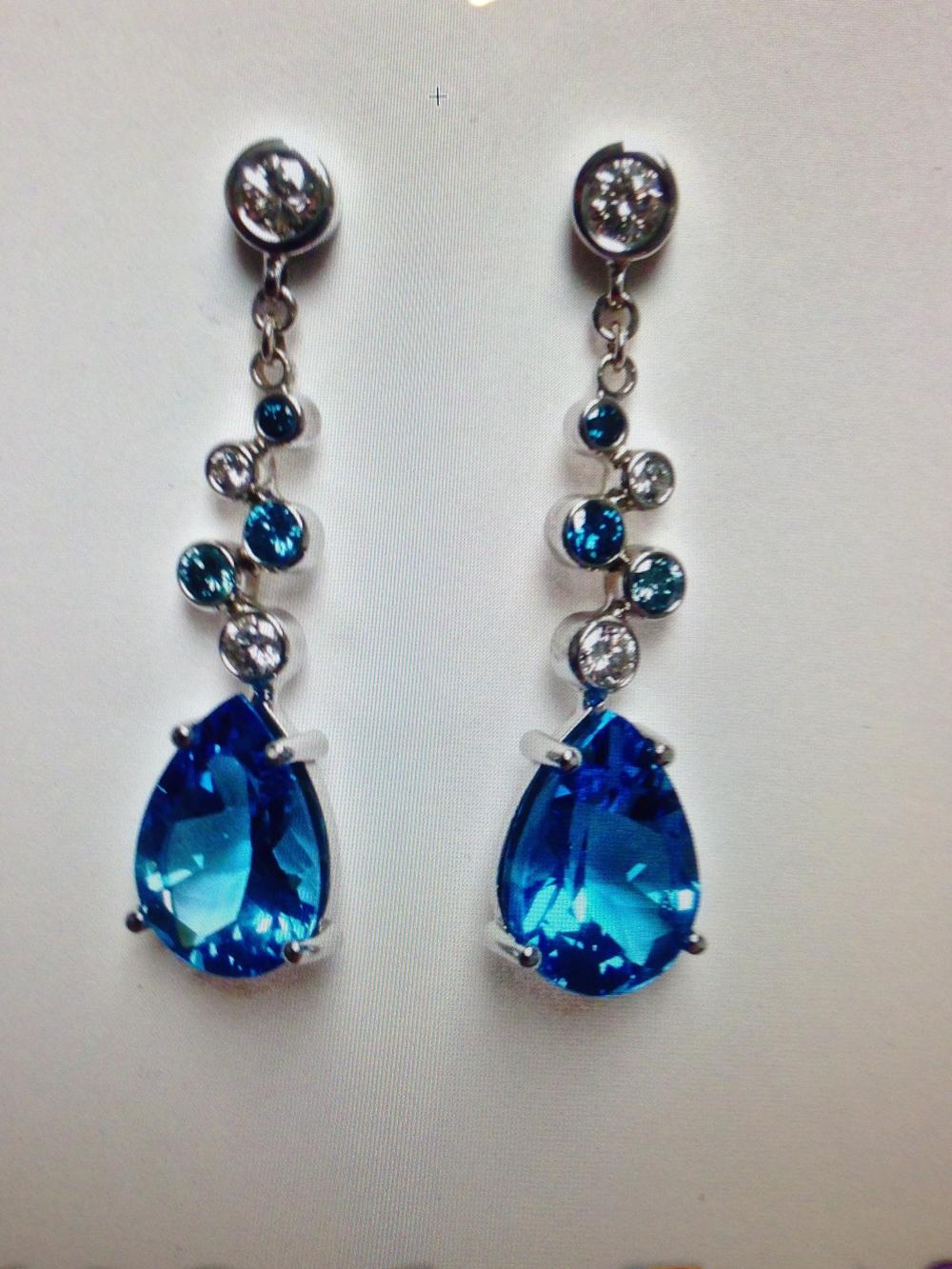 Craft-Revival Jewelers, blue topaz earrings, unique earrings, blue diamond earrings
