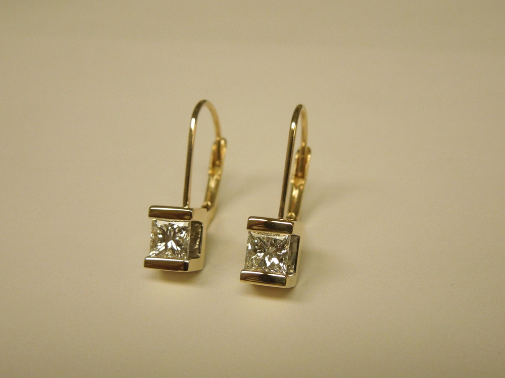 Craft-Revival Jewelers, unique earrings, diamond earrings, princess cut earrings, yellow gold earrings