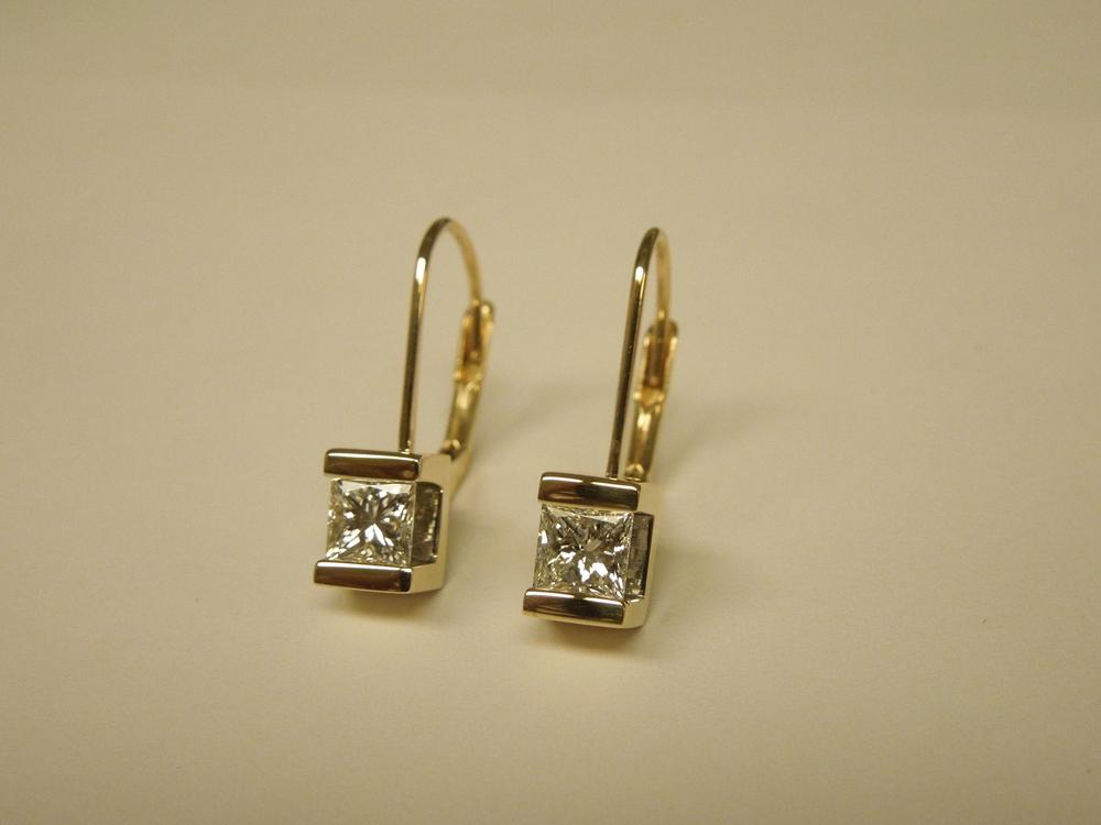 Craft-Revival Jewelers, unique earrings, diamond earrings, princess cut earrings, yellow gold earrings