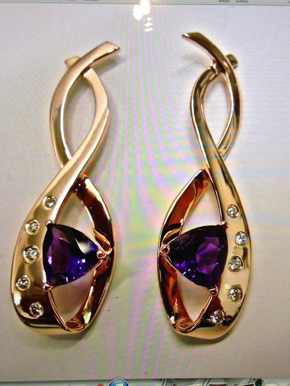 Craft-Revival Jewelers, Rose gold earrings, unique earrings, amethyst earrings