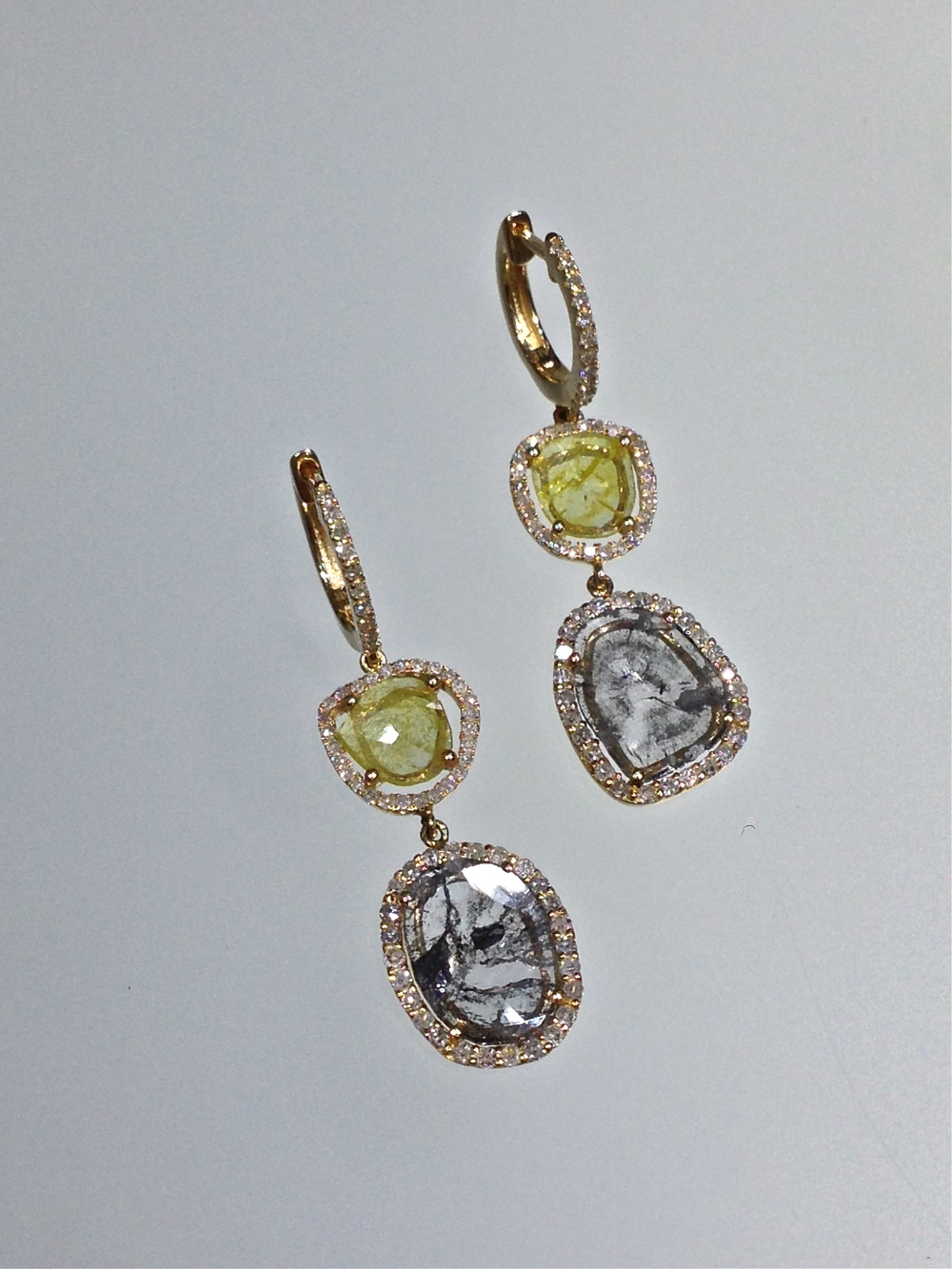 Craft-Revival Jewelers, diamond slice earrings, unique earrings, yellow diamonds, natural diamond earrings
