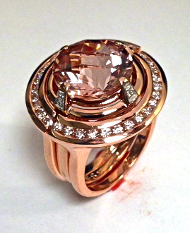 Craft-Revival Jewelers, Rose gold ring, Morgnaite ring, Rose gold morganite ring