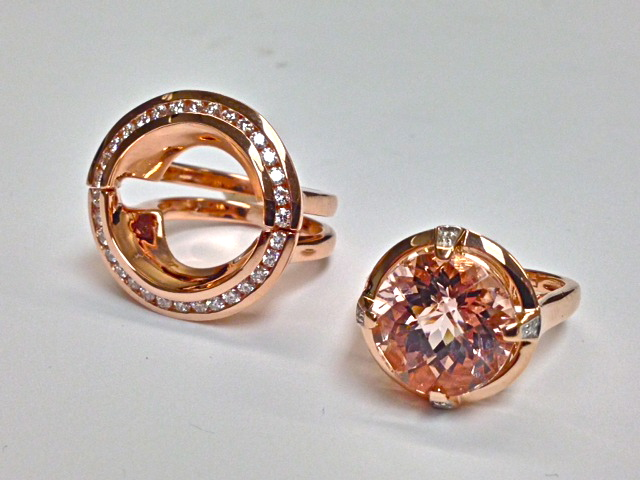 Craft-Revival Jewelers, unique wedding band, morganite ring, morganite engagement ring, diamond band