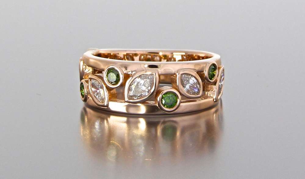 unique-white-diamond-green-stone-rose-gold-wedding-anneversary-band-ladies-custom-jewelry-store-grand-rapids