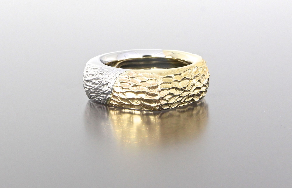 side-view-unique-mens-band-textured-design-wedding-band-white-gold-yellow-gold-custom-modern-design-craft-revival-jewelry-store-grand-rapids