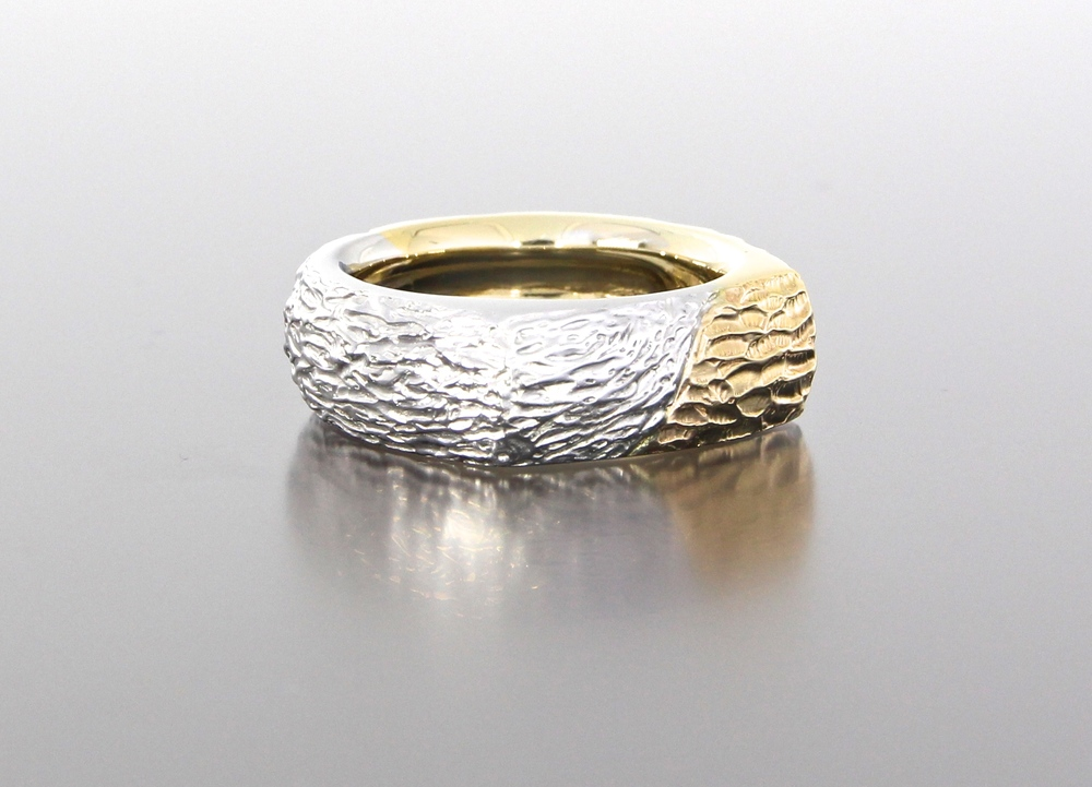 left-side-view-unique-mens-band-textured-design-wedding-band-white-gold-yellow-gold-custom-modern-design-craft-revival-jewelry-store-grand-rapids