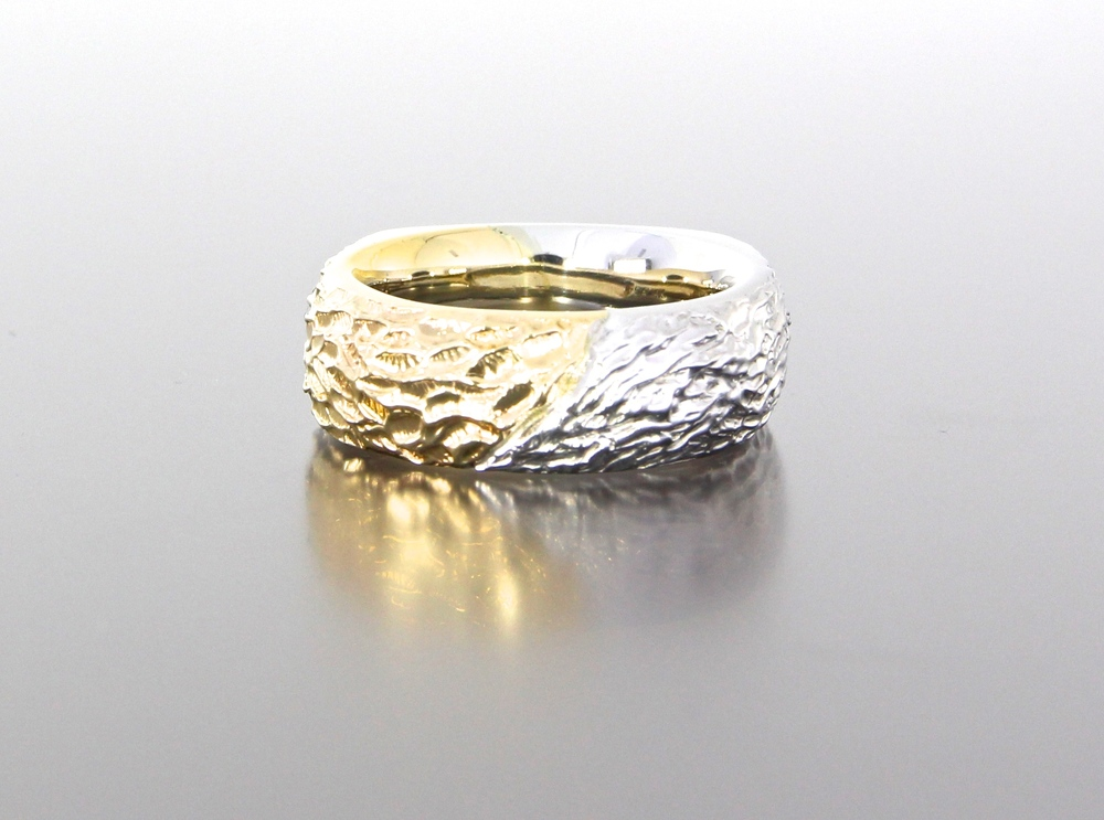 unique-mens-band-textured-design-wedding-band-white-gold-yellow-gold-custom-modern-design-craft-revival-jewelry-store-grand-rapids