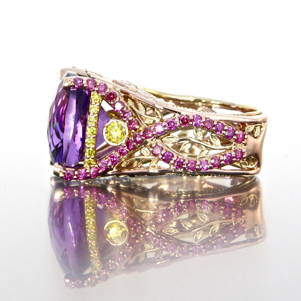 side-view-unique-amethyst-engagement-ring-modern-design-pink-diamonds-craft-revival-jewelry-store-grand-rapids