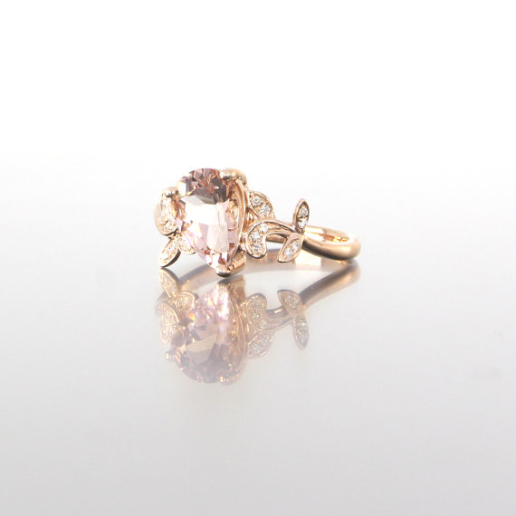 side-view-unique-rose-gold-pear-shape-morganite-diamonds-alternative-engagement-ring-craft-revival-jewelry-store-grand-rapids