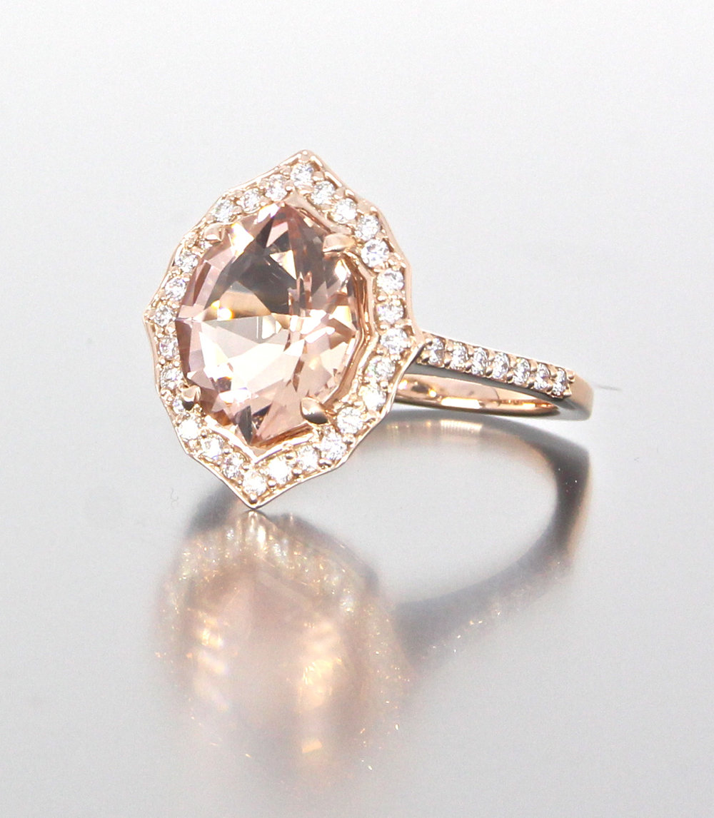side-view-unique-halo-morganite-delicate-diamond-halo-engagement-ring-craft-revival-jewelry-store-grand-rapids