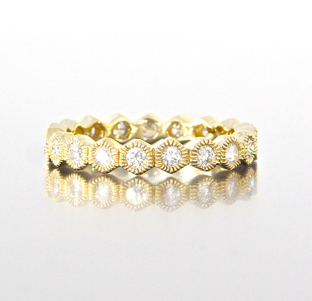 unique-modern-ladies-yellow-gold-band-delicate-dainty-simple-round-diamond-vintage-ladies-wedding-eternity-style-band-craft-revival-jewelry-store-grand-rapids