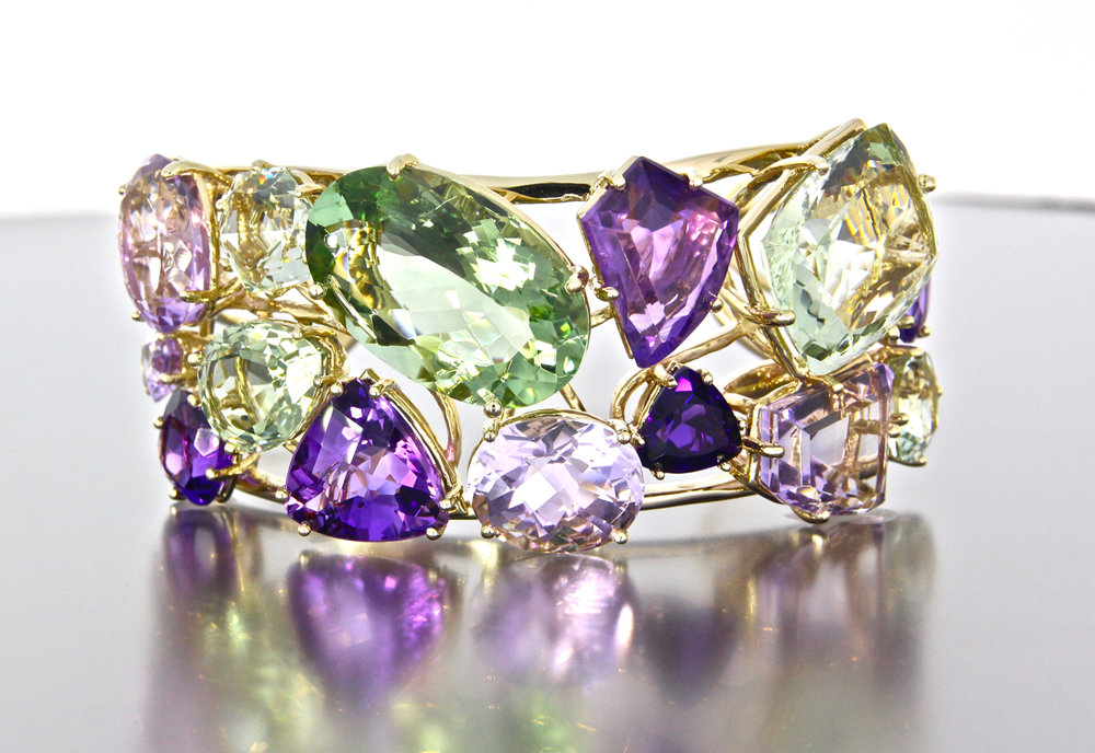 unique-custom-yellow-gold-cuff-natural-amethyst-green-amethyst-gemstones-craft-revival-jewelry-store-grand-rapids