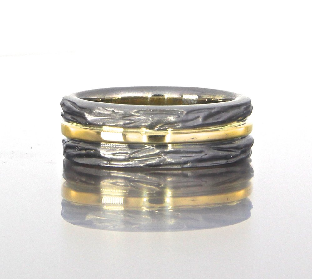 unique-mens-textured-wedding-band-two-tone-black-and-yellow-gold-modern-design-craft-revival-jewelry-store-grand-rapids