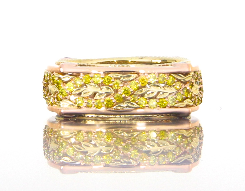 unique-custom-wedding-band-rose-yellow-gold-canary-yellow-diamond-twist-band-craft-revival-jewelry-store-grand-rapids