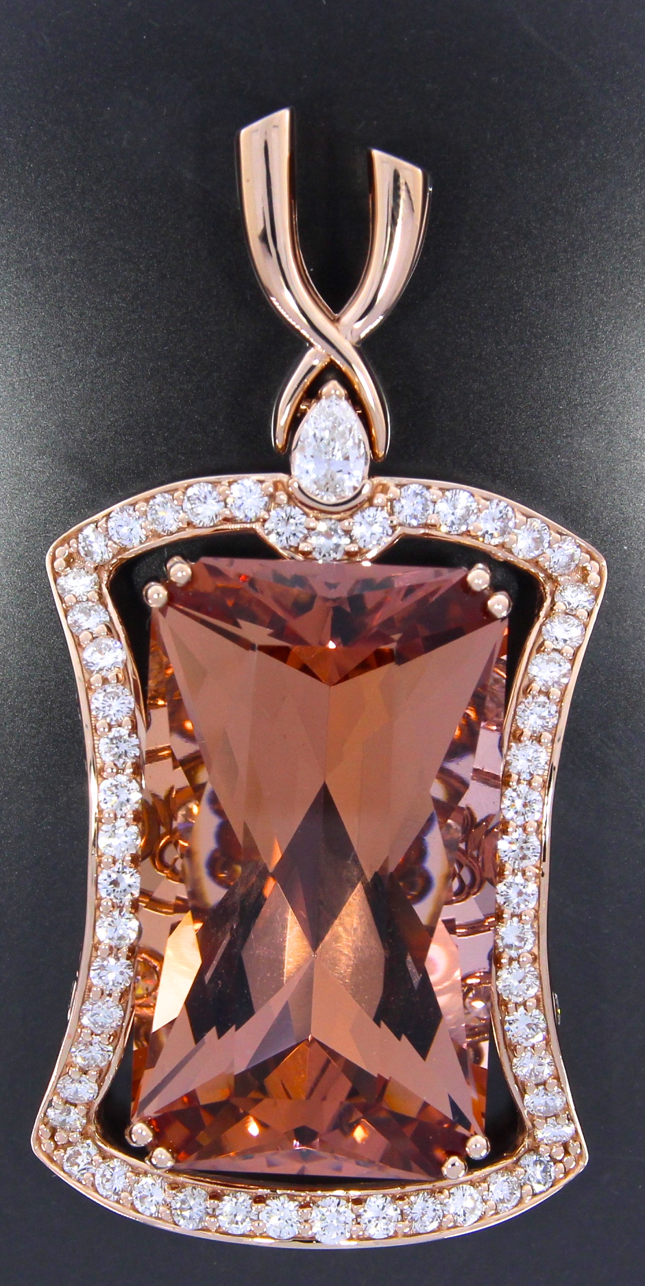unique-custom-morganite-pendant-rose-gold-diamonds-halo-pendant-side-view-craft-revival-jewelry-store-grand-rapids-front-view
