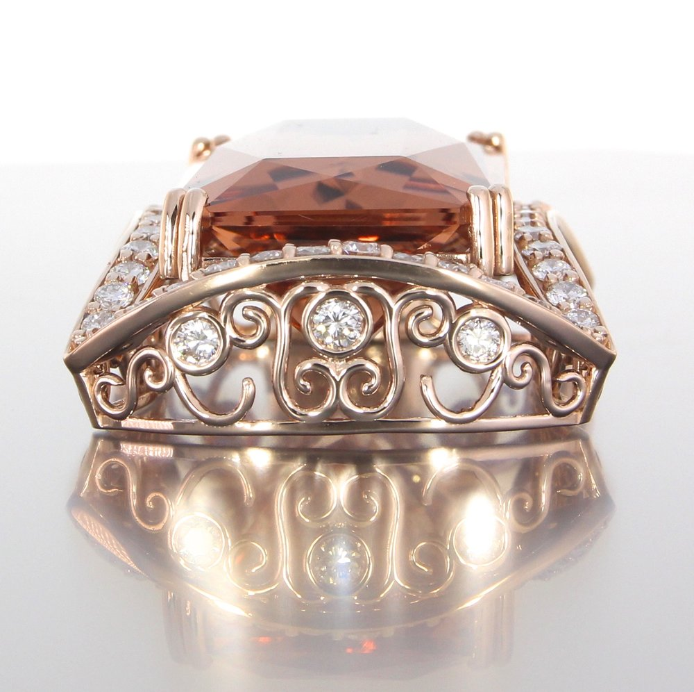 unique-custom-morganite-pendant-rose-gold-diamonds-halo-pendant-side-view-craft-revival-jewelry-store-grand-rapids-top-view