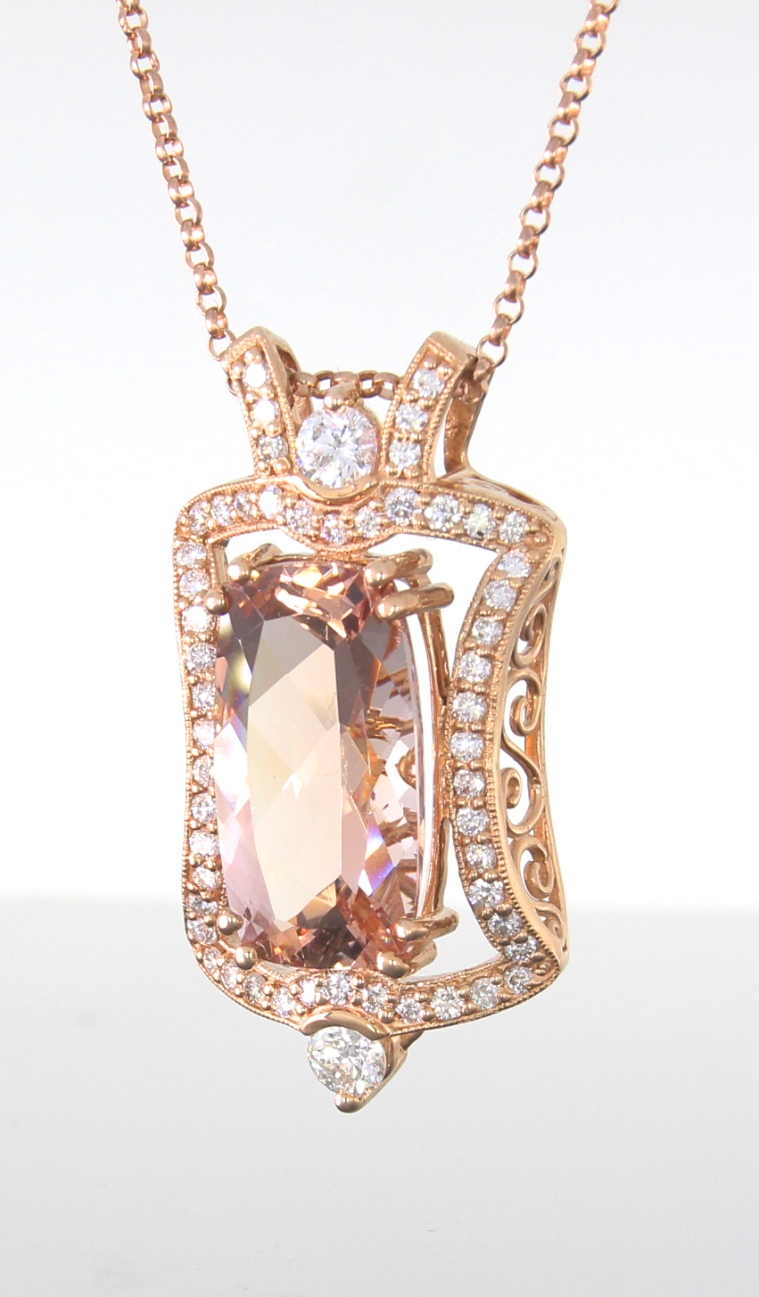 unique-morganite-diamond-halo-pendant-rose-gold-fashion-jewelry-craft-revival-jewelry-store-grand-rapids-side-view
