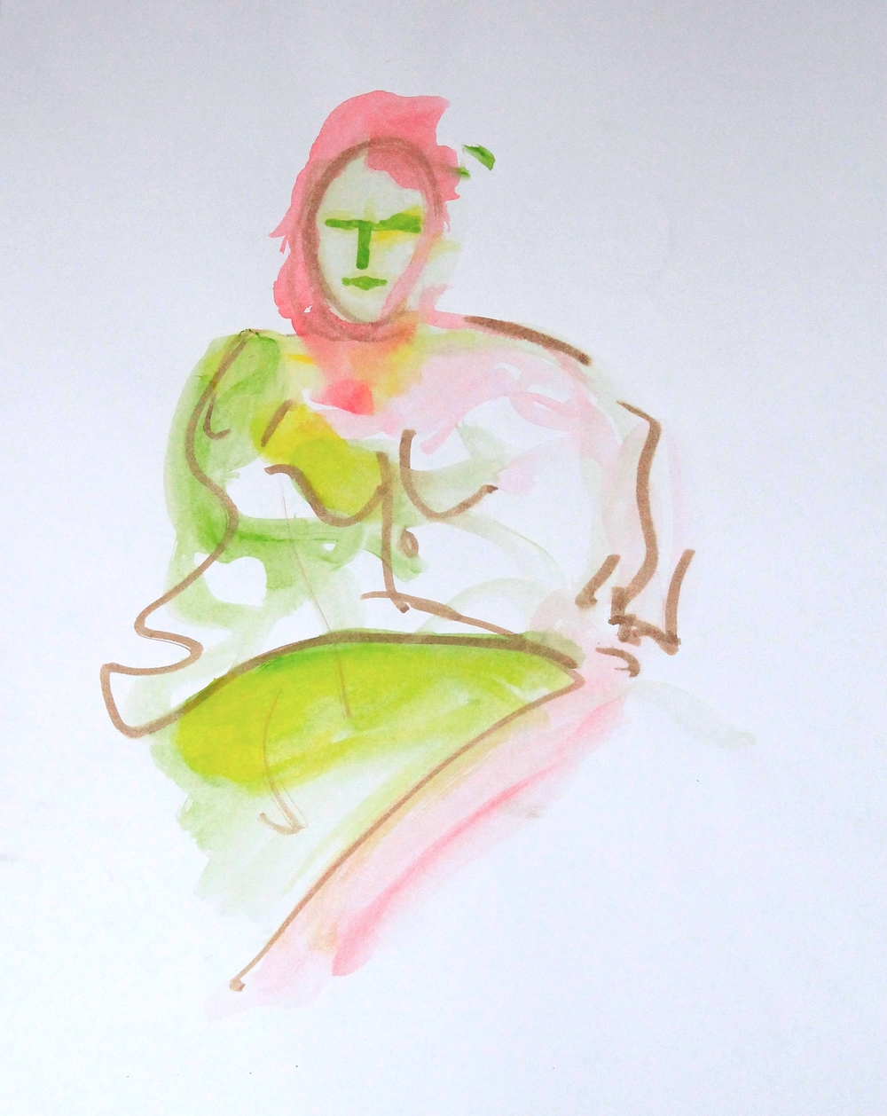 Figure in Pink and Green