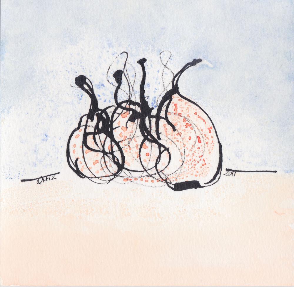 Orange and Blue Pears