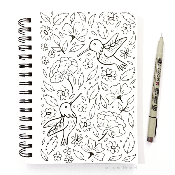 hennel paper co hummingbird sketch