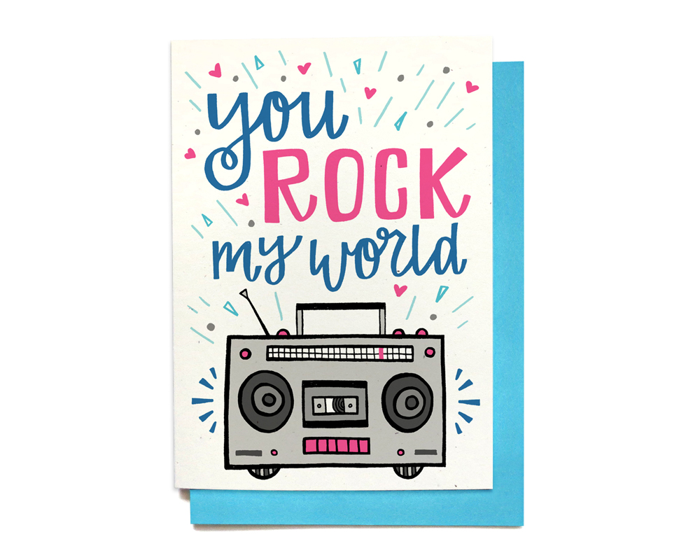 You Rock My World Boombox Retro Card