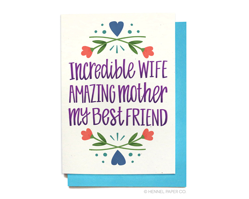 Wife Mothers Day card - hennel paper co.