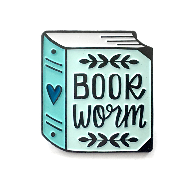 Bookworm enamel pin - Hennel Paper Co.