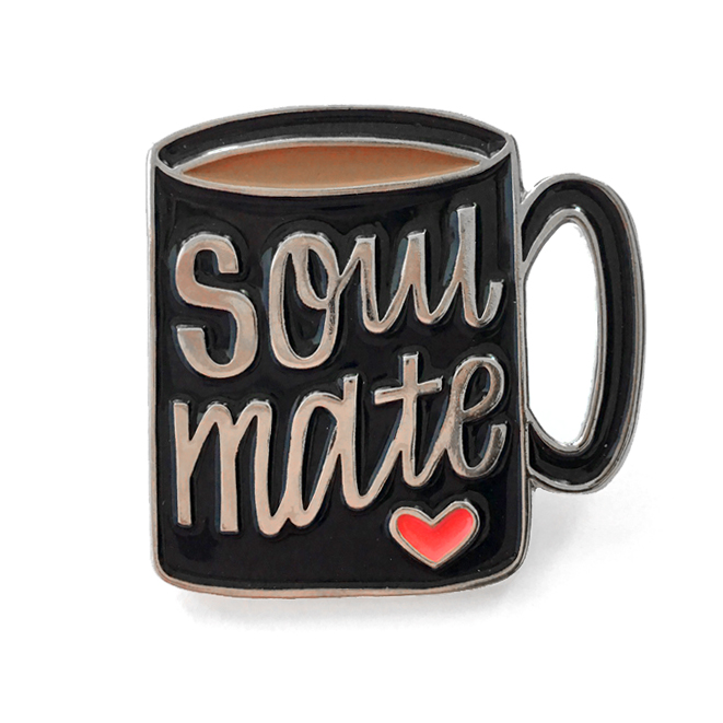 Coffee Soulmate enamel pin - Hennel Paper Co.