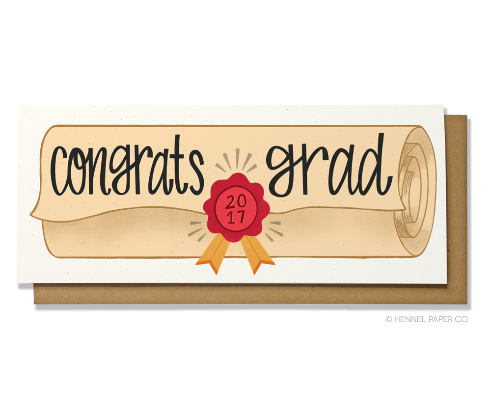 graduation money card - diploma- hennel paper co.