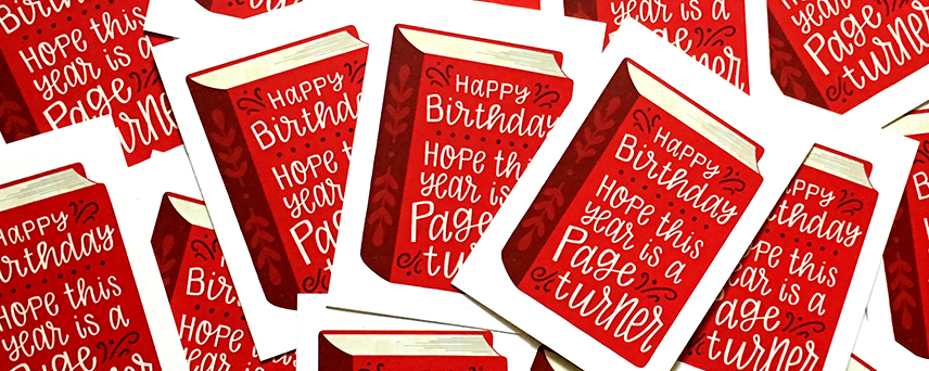 bookworm birthday card - Hennel Paper Co.