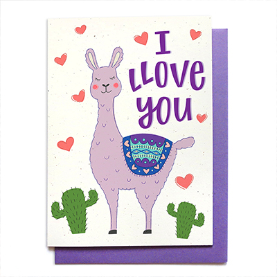 llama love card - ©hennel paper co