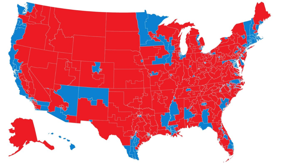 US CONGRESSIONAL DISTRICTS: MORE BLUE NEEDED