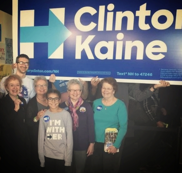 Joan McGrath (right) on one of many trips to New Hampshire canvassing for Hillary Clinton.