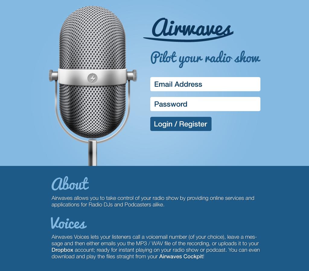 Airwaves App - Homepage
