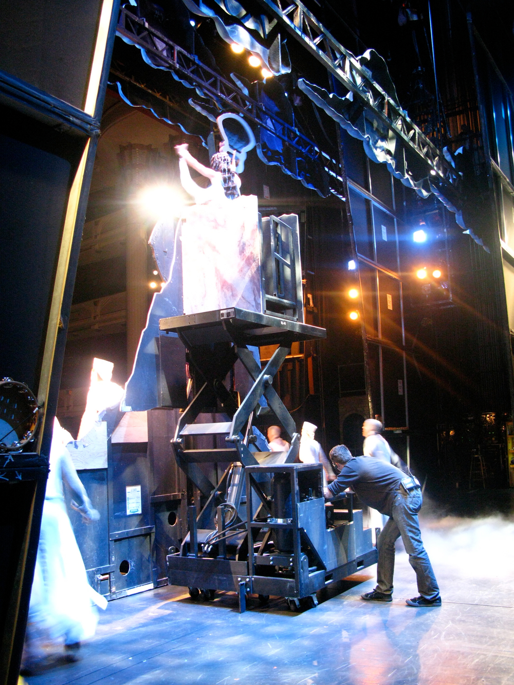 "Stagehands behind the ""grail"" on Spamalot"
