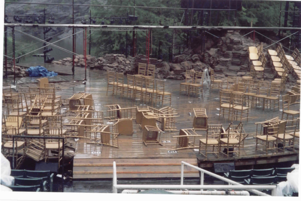 Teching in the rain at the Delacorte (Henry V, 2003)