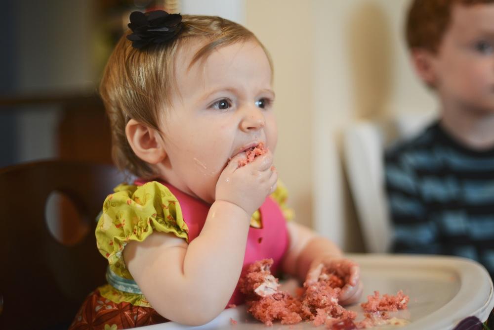 Enjoying cake.