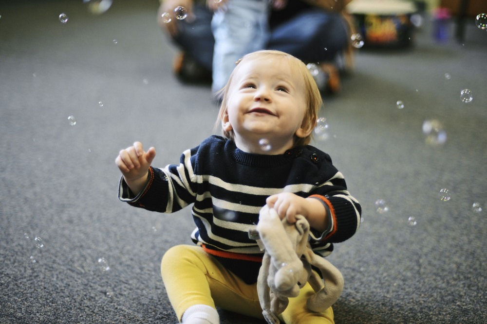 Enraptured by the bubbles at music class