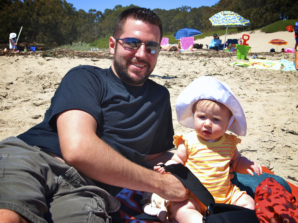 Lila and Eric last summer in Santa Cruz. Lila was so wee!