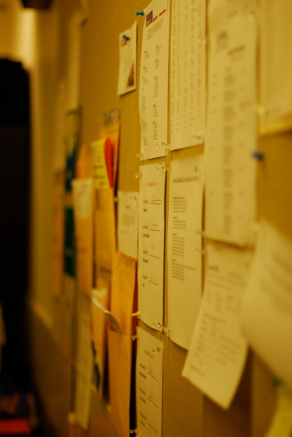 The callboard.