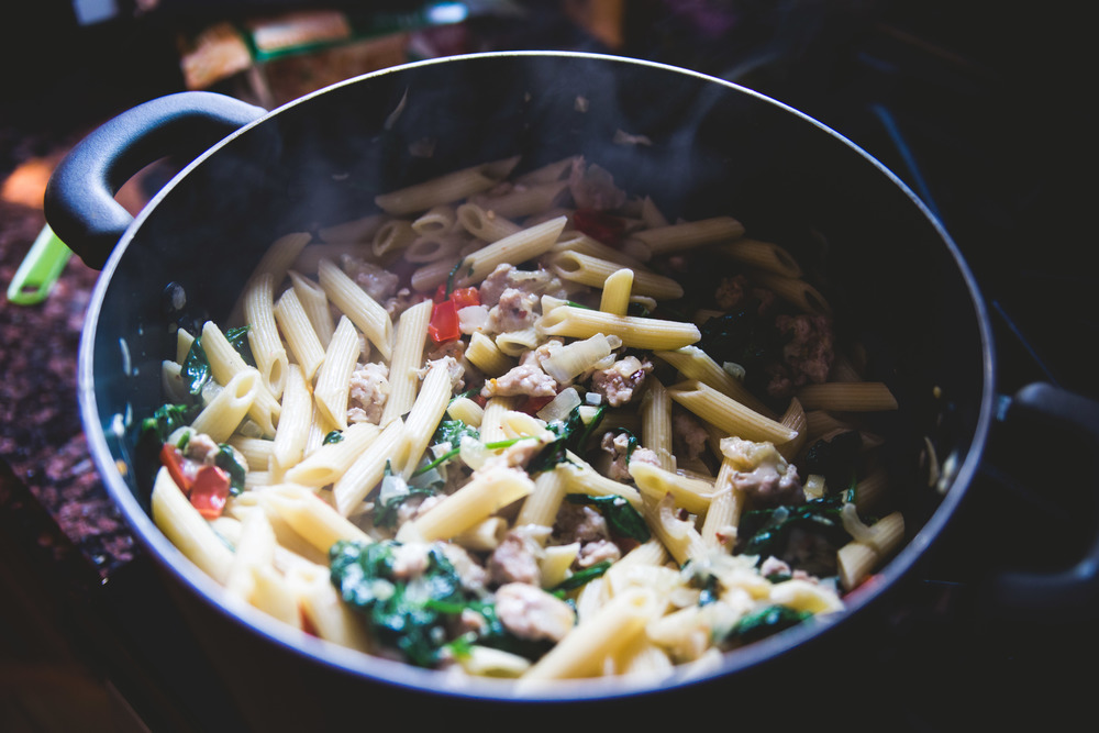 Pasta with Italian Chicken Sausage, Peppers and Escarole (I subbed spinach)