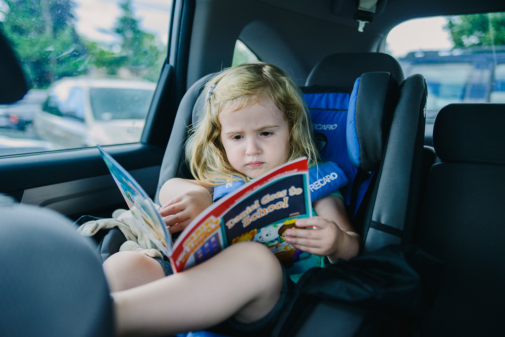 Reading in the car.