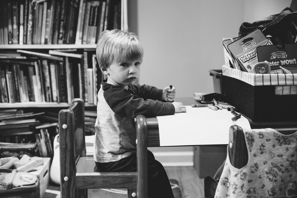 Little boy at desk | Francesca Russell Photography & Films | Garden City Family Photographer