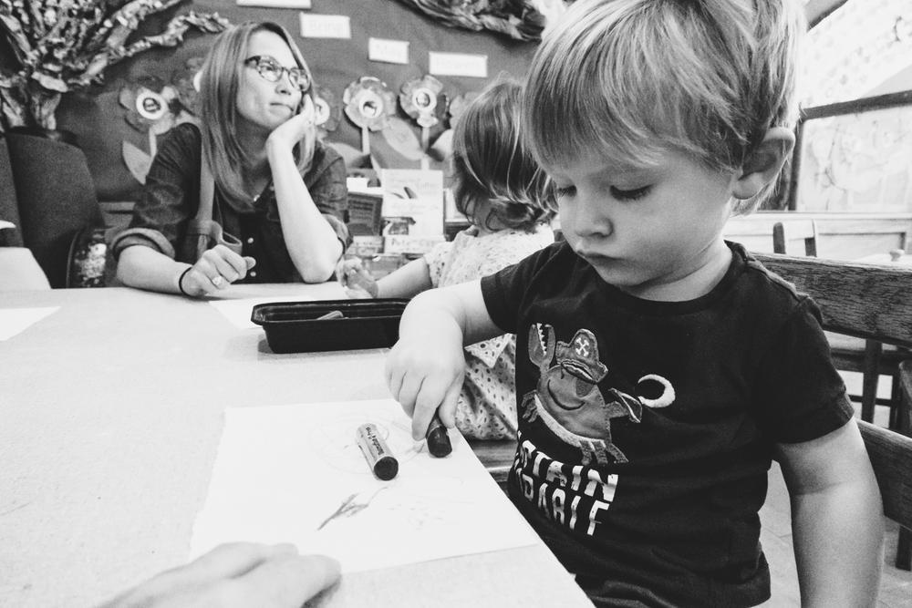 Coloring at nursery school.