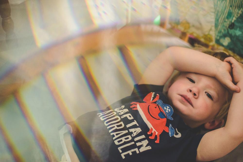 Logan waking from nap.