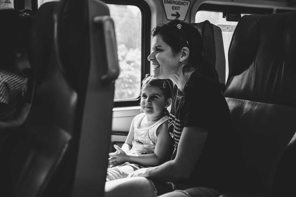 Francesca Russell Photography | Long Island Family Documentary Photography | Mom and Girl on Train